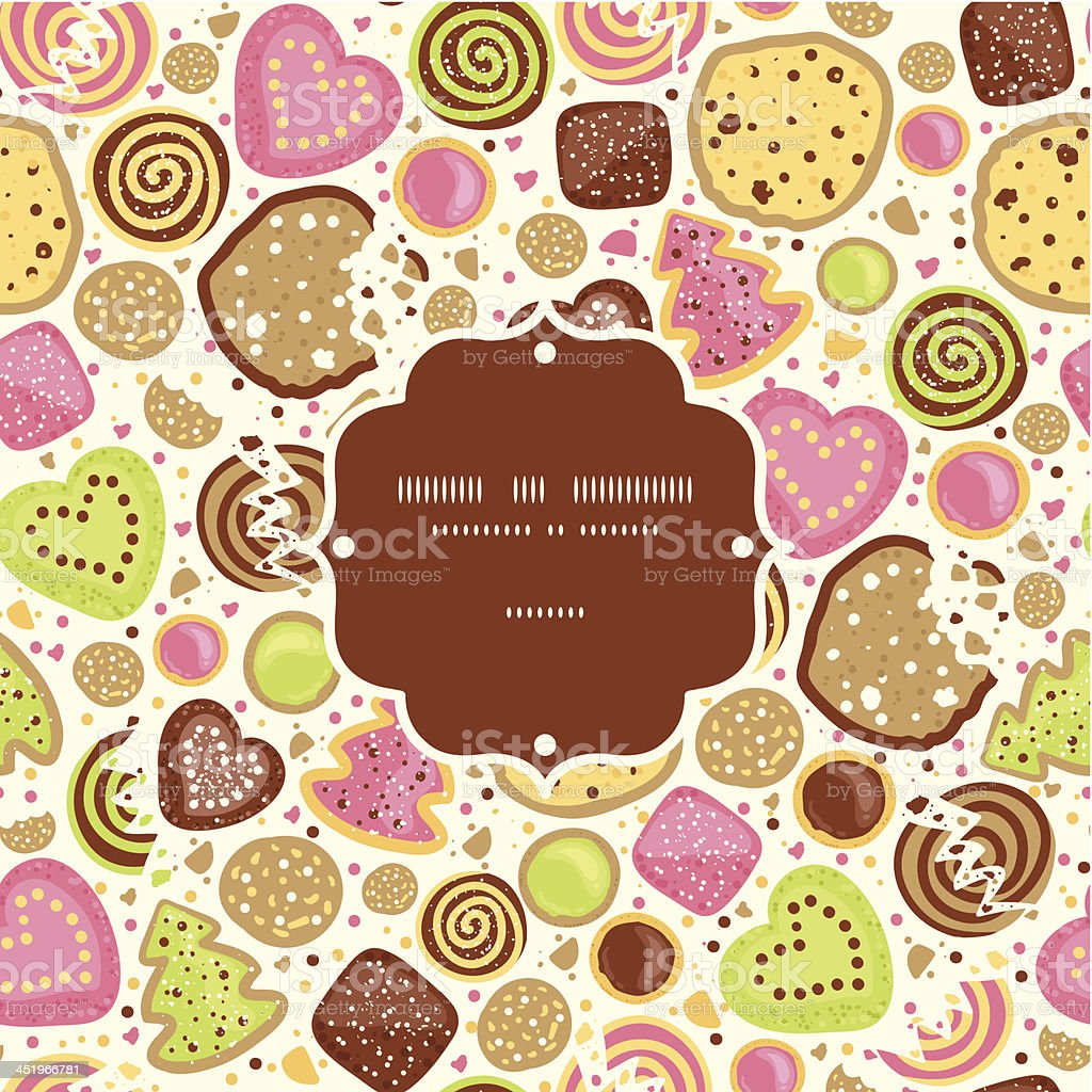 Colorful cookies frame seamless pattern background royalty-free stock vector art