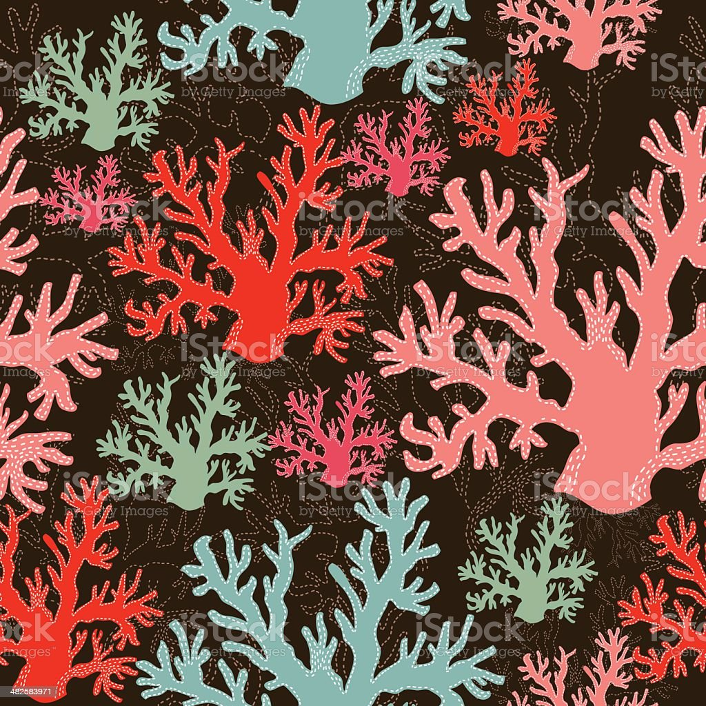 Colorful coral seamless pattern. vector art illustration