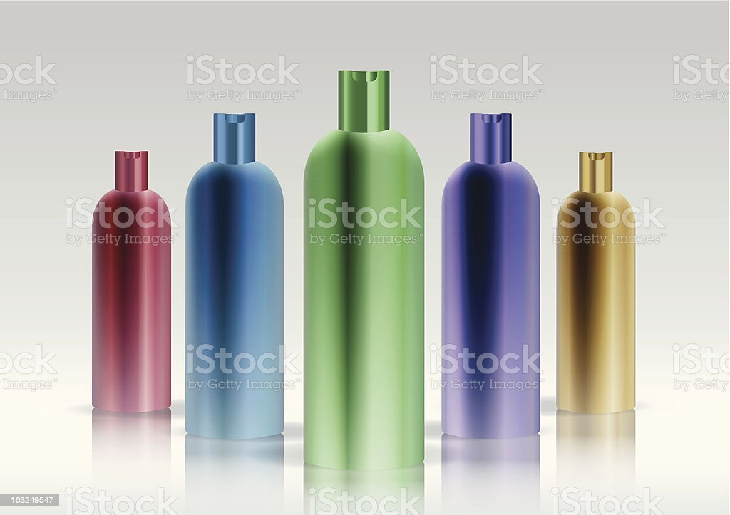 Colorful cosmetic bottle set royalty-free stock vector art