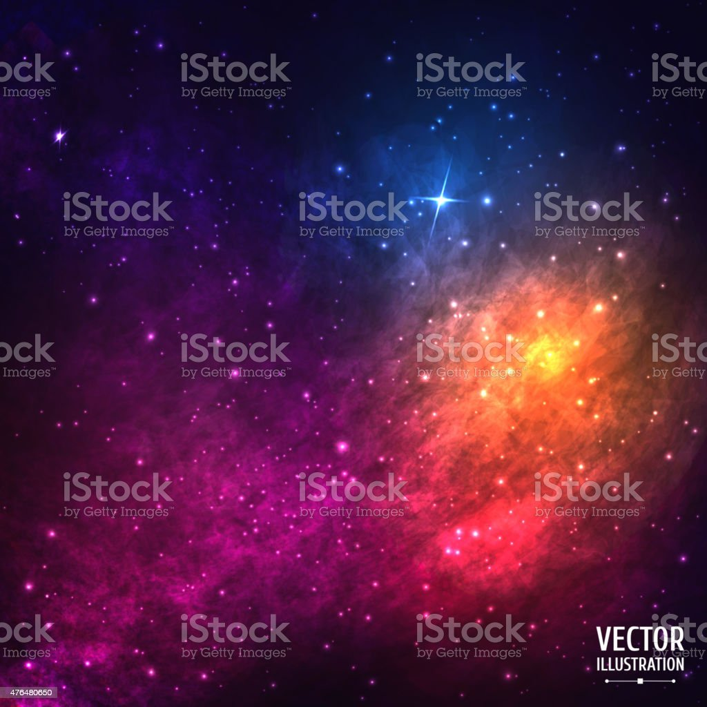 Colorful Cosmic Background with Light, Shining Stars, Stardust and Nebula vector art illustration
