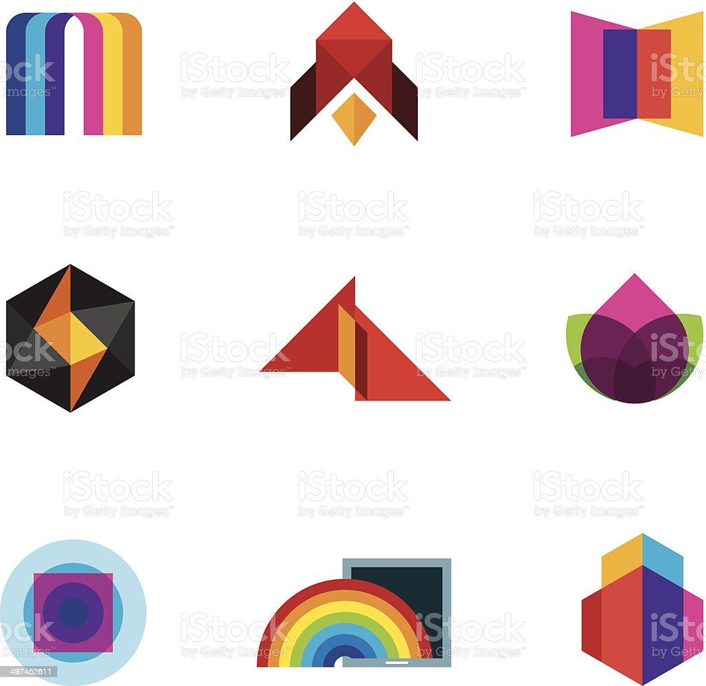 Colorful creativity inspiration design for professional company vector logo icons vector art illustration