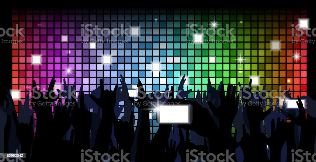 Colorful crowd of party people silhouettes background vector art illustration