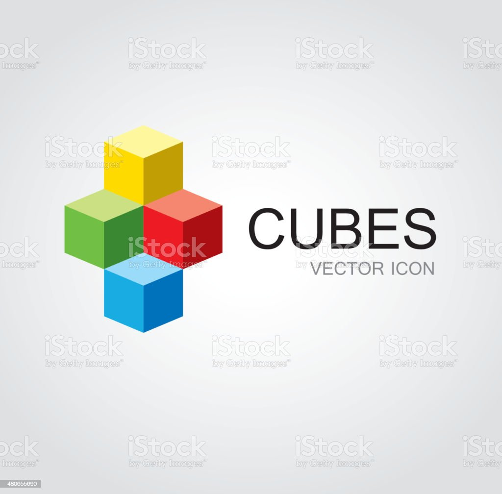 Colorful cubes symbol vector art illustration
