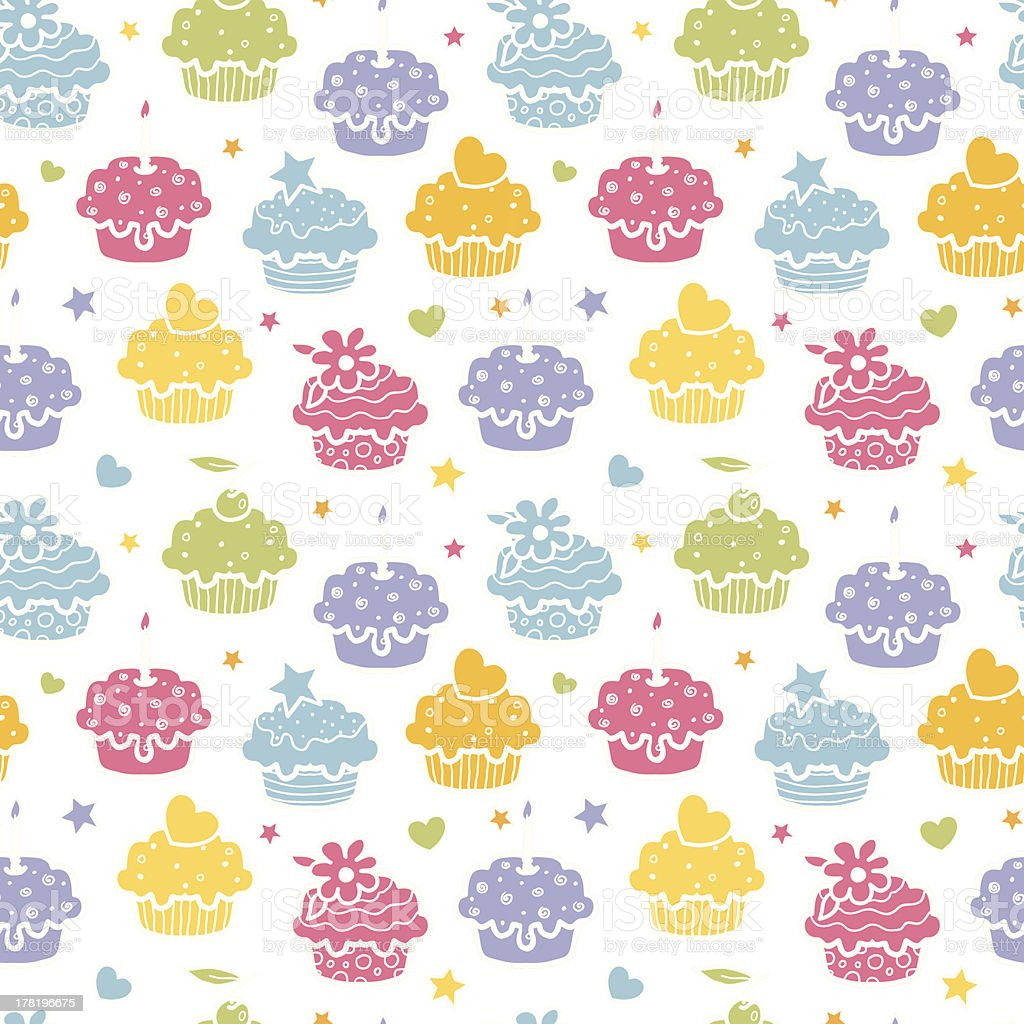Colorful cupcake party seamless pattern background royalty-free stock vector art