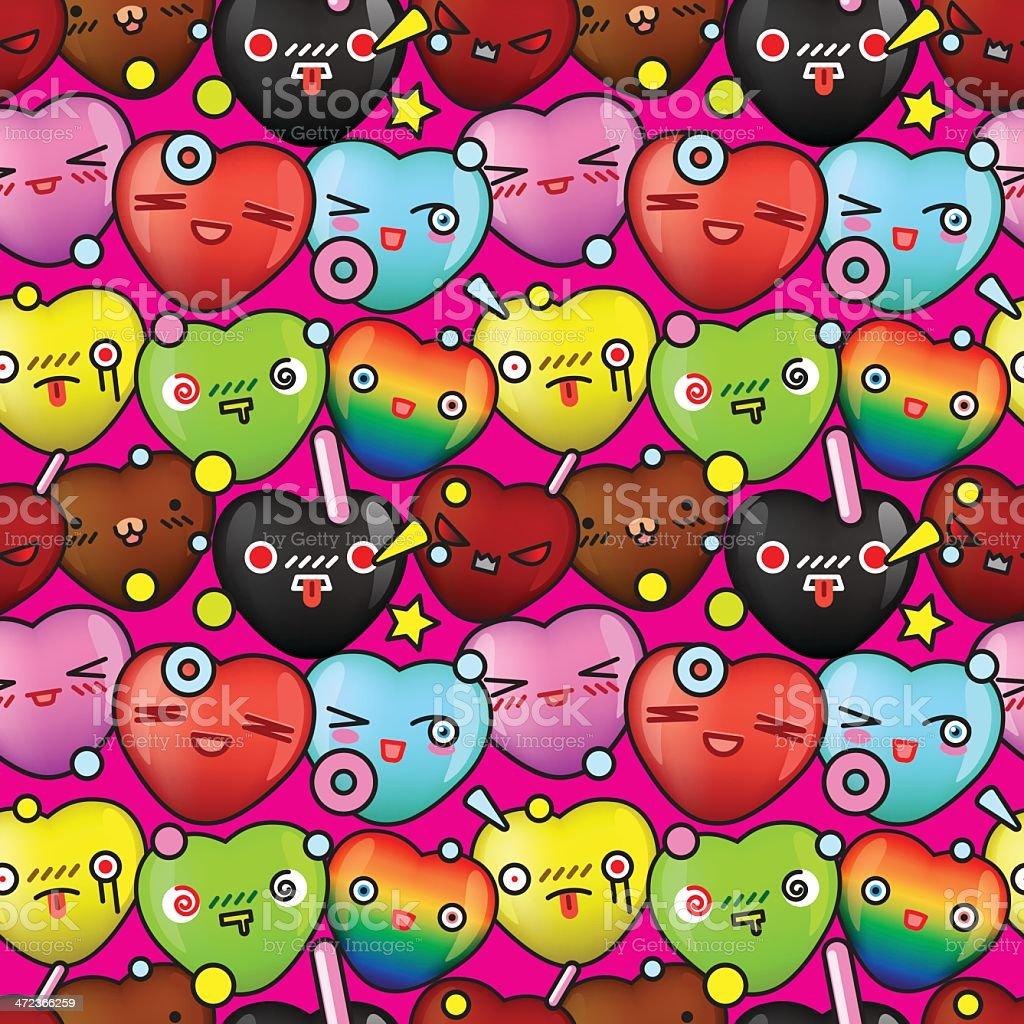 Colorful cute cartoon seamless pattern vector art illustration