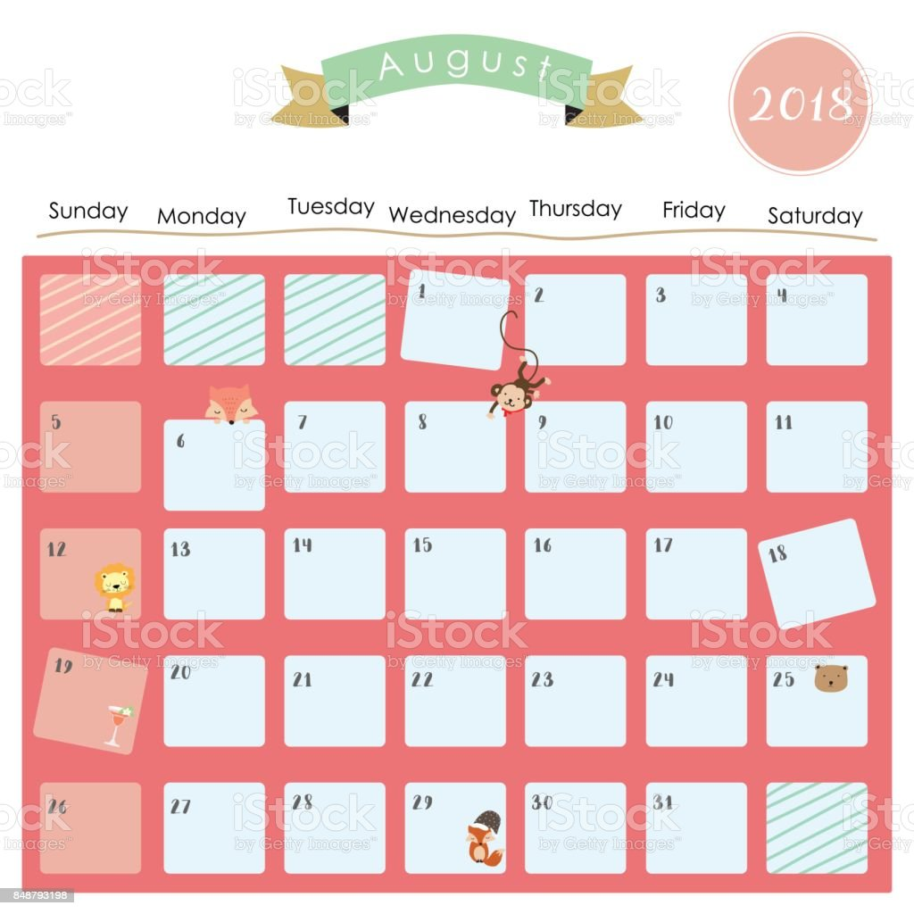 Colorful Cute January 2018 Calendar With ...