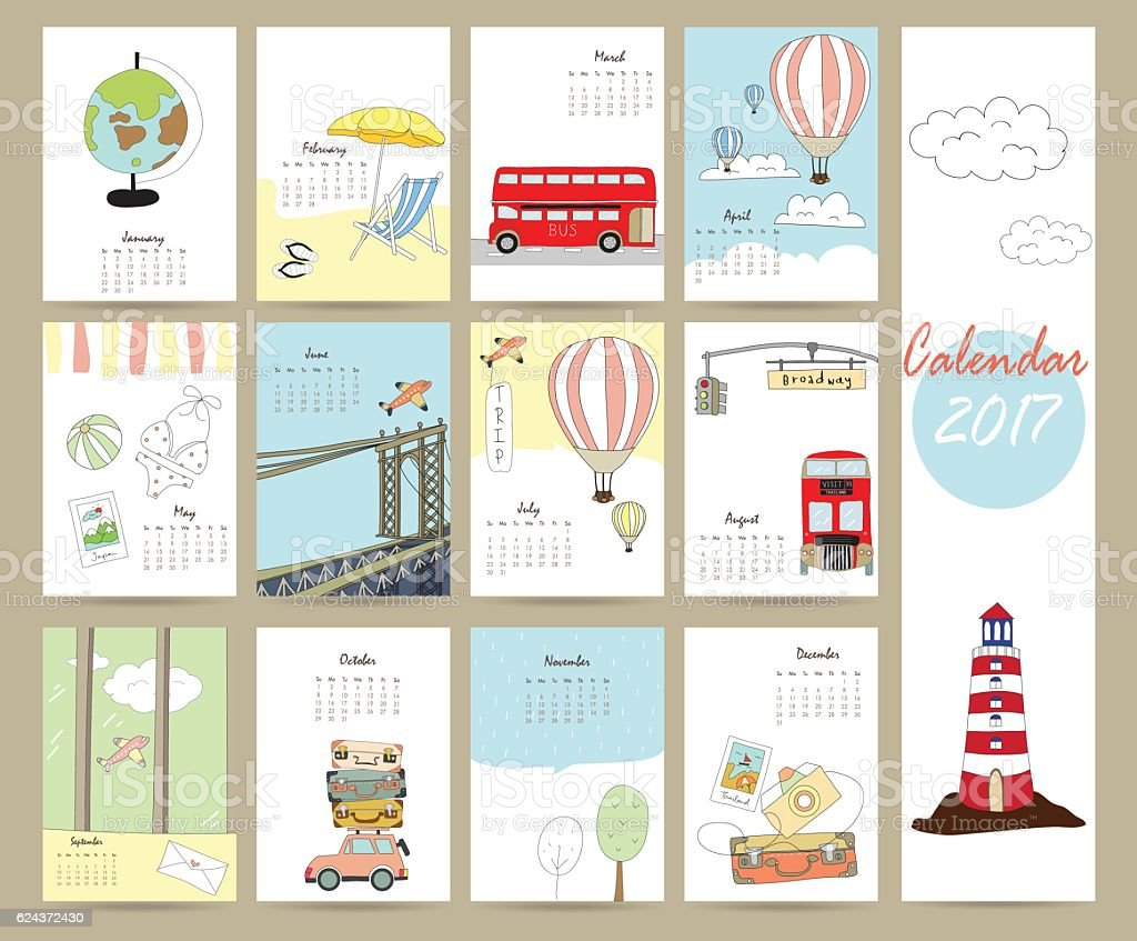 Colorful cute monthly calendar 2017 with bus,airplane,balloon vector art illustration