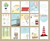 Colorful cute monthly calendar 2017 with bus,airplane,balloon