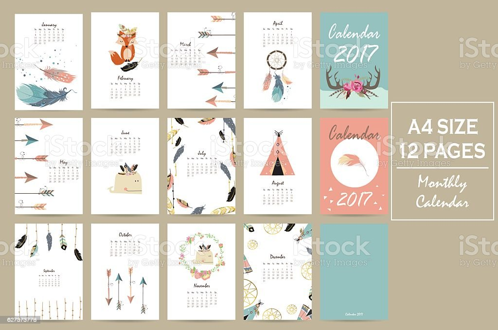 Colorful cute monthly calendar 2017 with tent,whale,feather vector art illustration