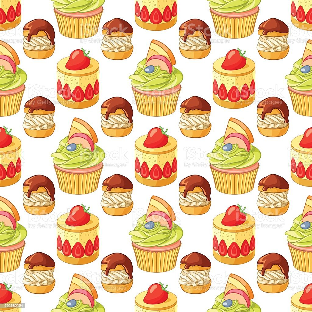 Colorful desserts and pastry seamless vector pattern on white background. vector art illustration