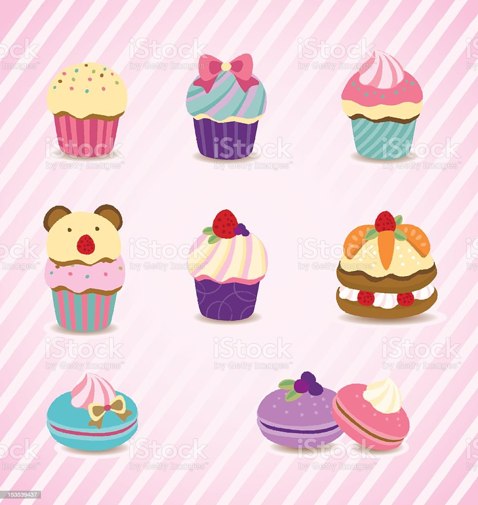 Colorful desserts - cupcake, macaroon, layer cake royalty-free stock vector art