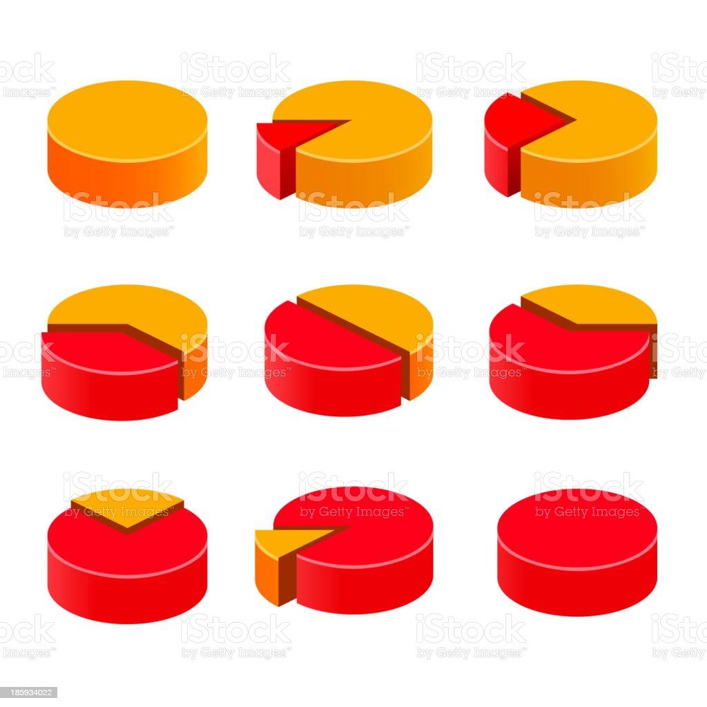 Colorful diagram pie set royalty-free stock vector art