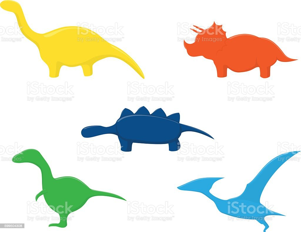 Colorful dinosaurs look like gummy candy vector art illustration