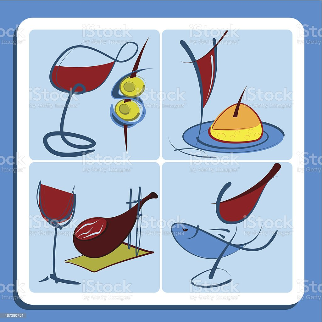 Colorful doodle sketches of Spanish wine vector art illustration