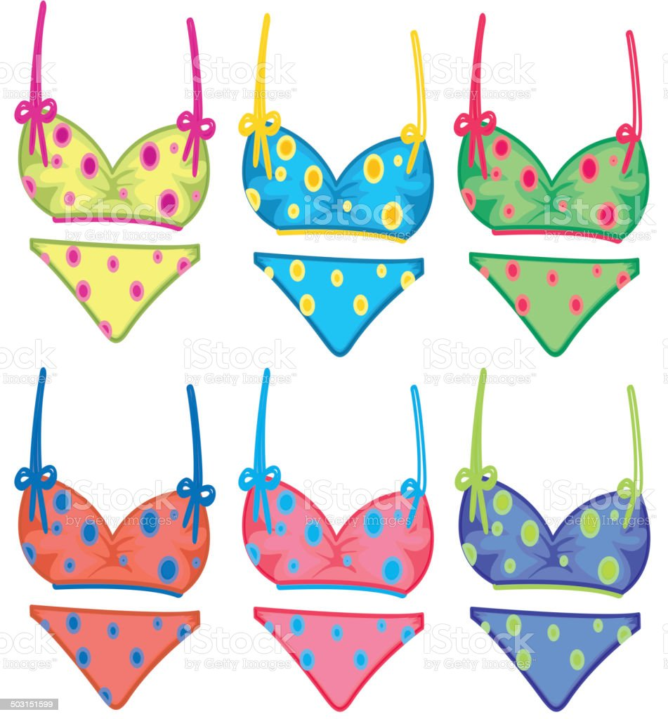 Colorful dotted bikinis royalty-free stock vector art