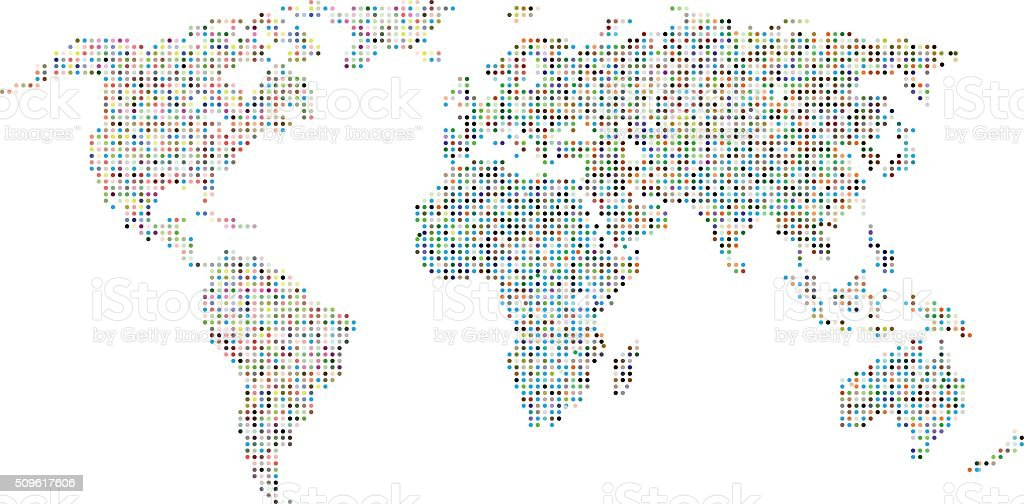 Colorful dotted world map,vector background vector art illustration
