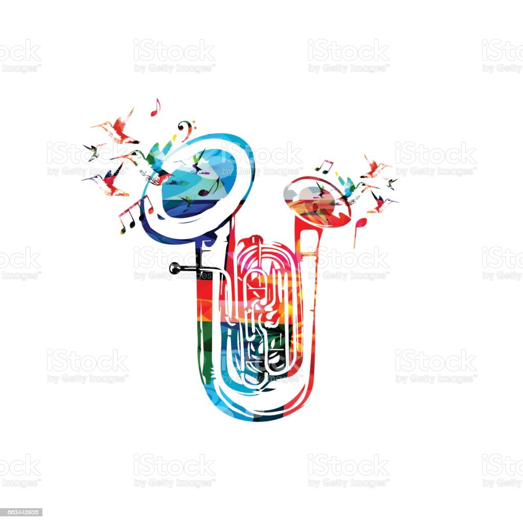 Colorful double bell euphonium with music notes vector art illustration