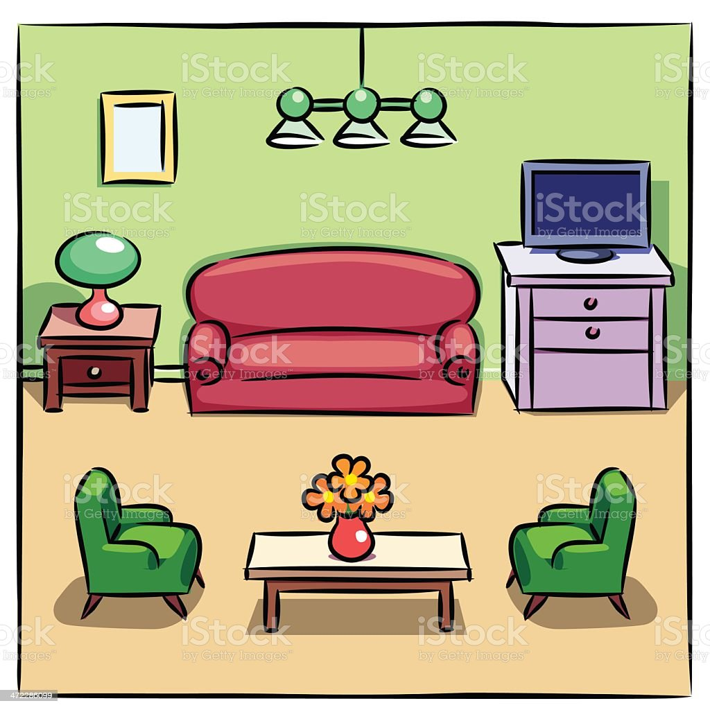 Colorful Drawing Of Living Room With Furniture Royalty Free Stock Vector Art