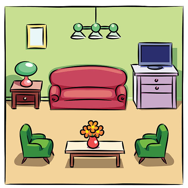 Vector Illustration Art Colorful Drawing Of Living Room With Furniture