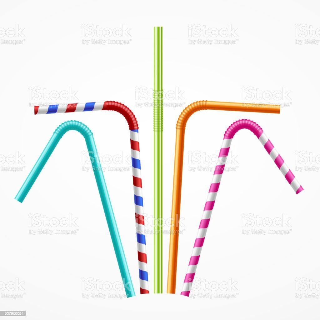 Colorful Drinking Straws Set. Vector vector art illustration