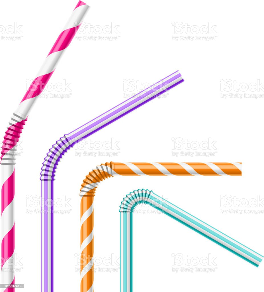 Colorful drinking straws vector art illustration