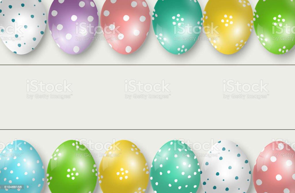 Colorful Easter eggs double edge border on white wooden background vector art illustration