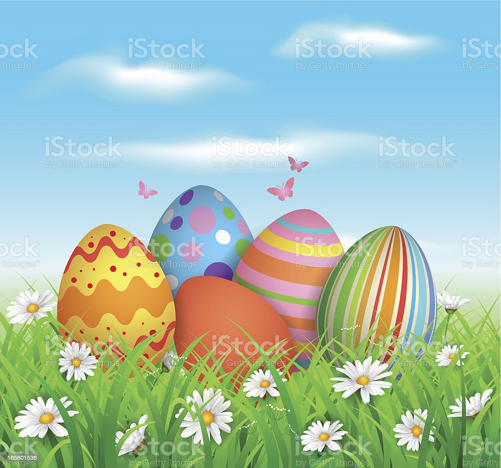 Colorful easter eggs in grass and flowers vector art illustration