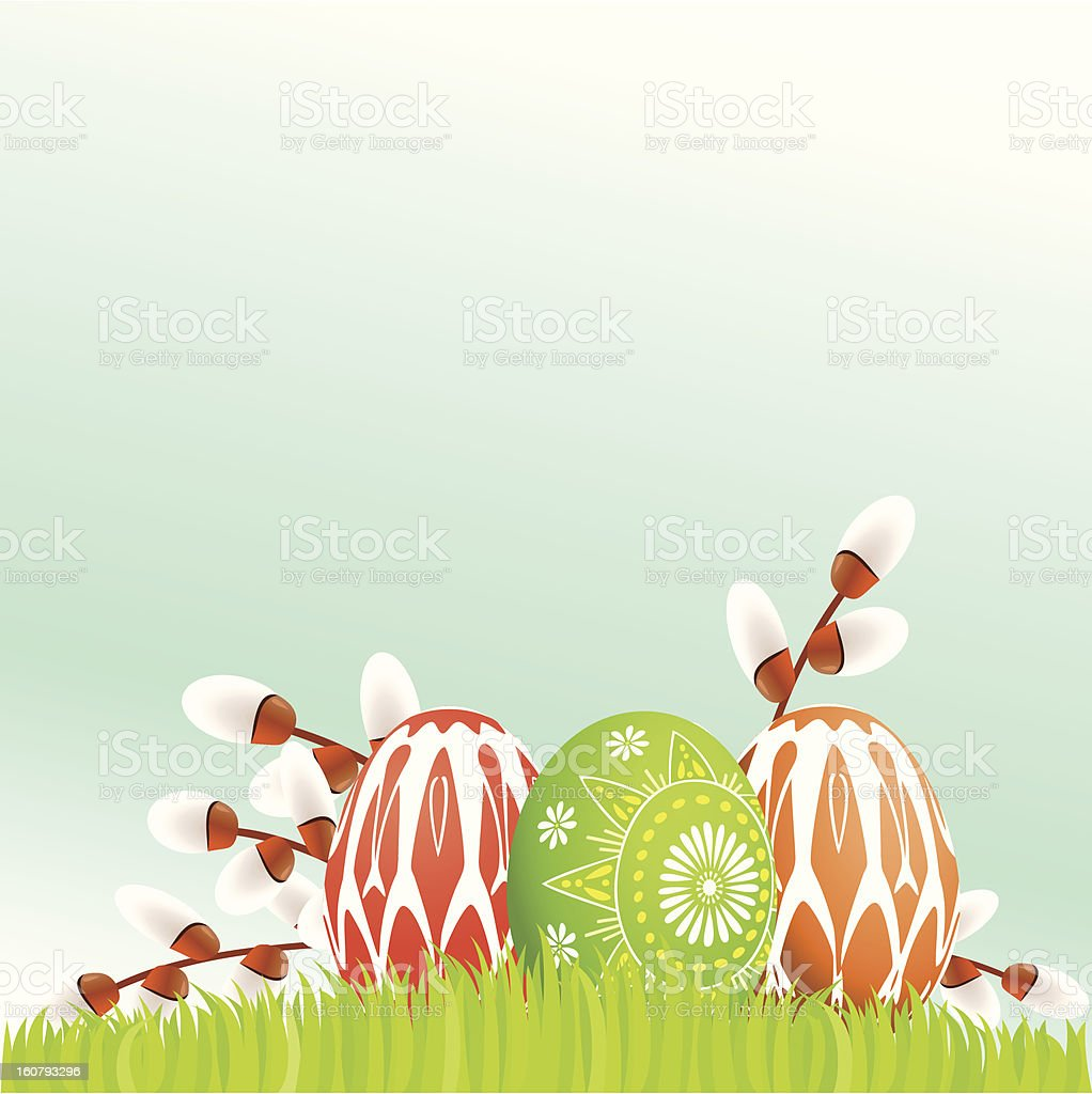 Colorful Easter eggs on grass royalty-free stock vector art