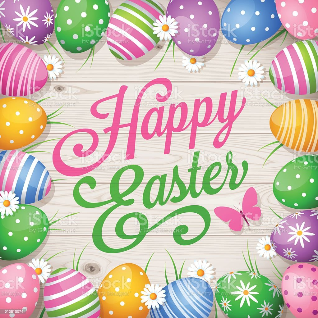 Colorful Easter eggs on wooden background and text Happy Easter vector art illustration