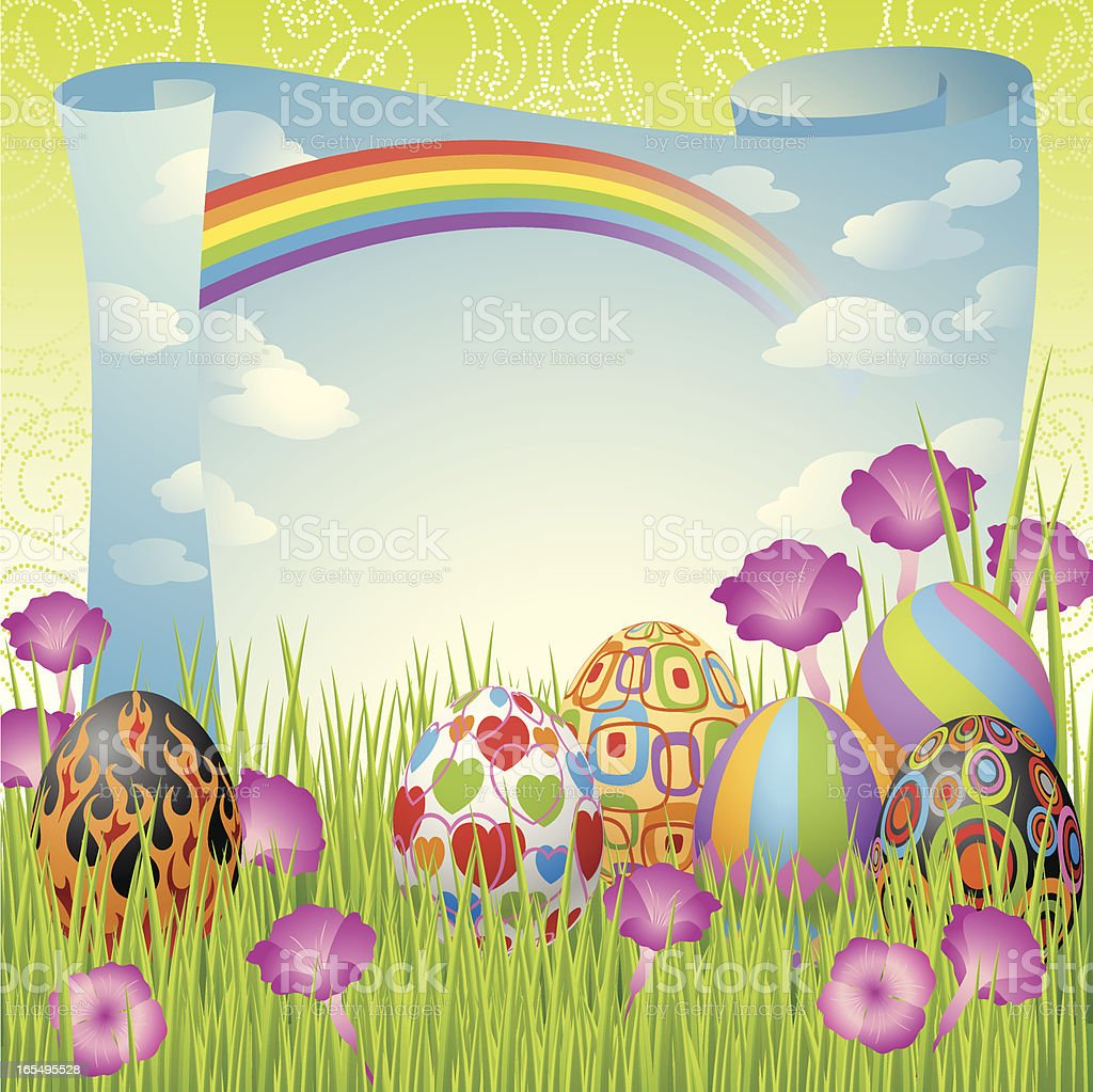 Colorful Easter Eggs, Paper Scroll and Rainbow Vector royalty-free stock vector art