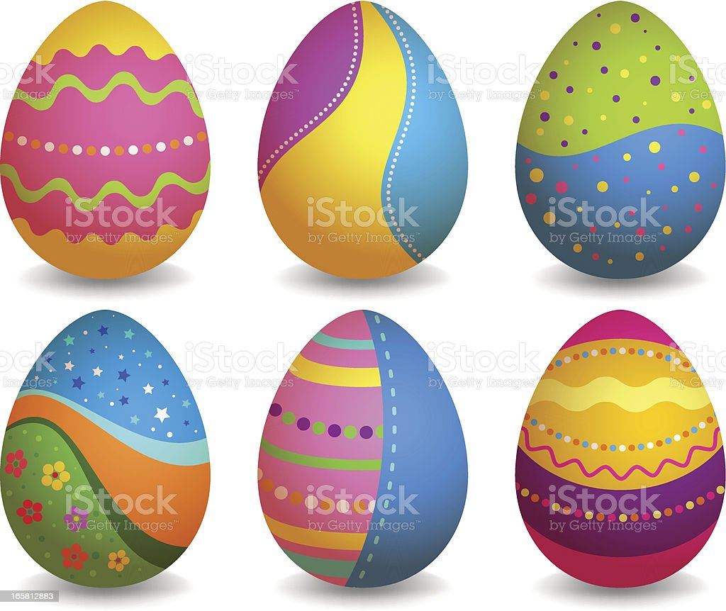 Colorful easter eggs set royalty-free stock vector art