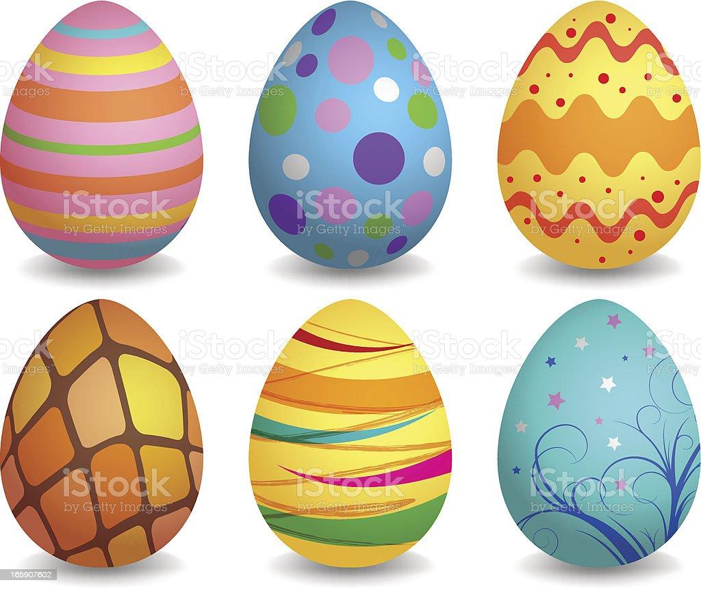 Colorful easter eggs set vector art illustration