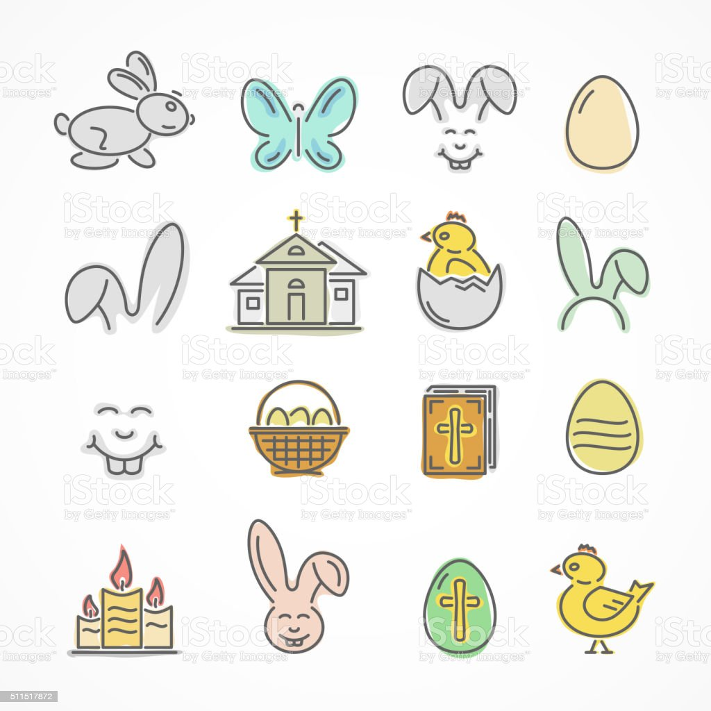 Colorful Easter icons vector art illustration