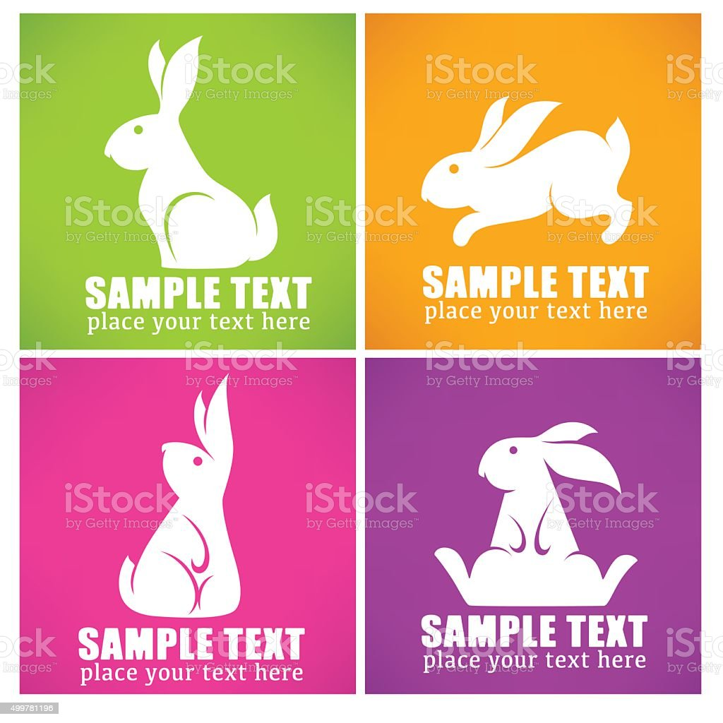 colorful easter rabbit collection vector art illustration