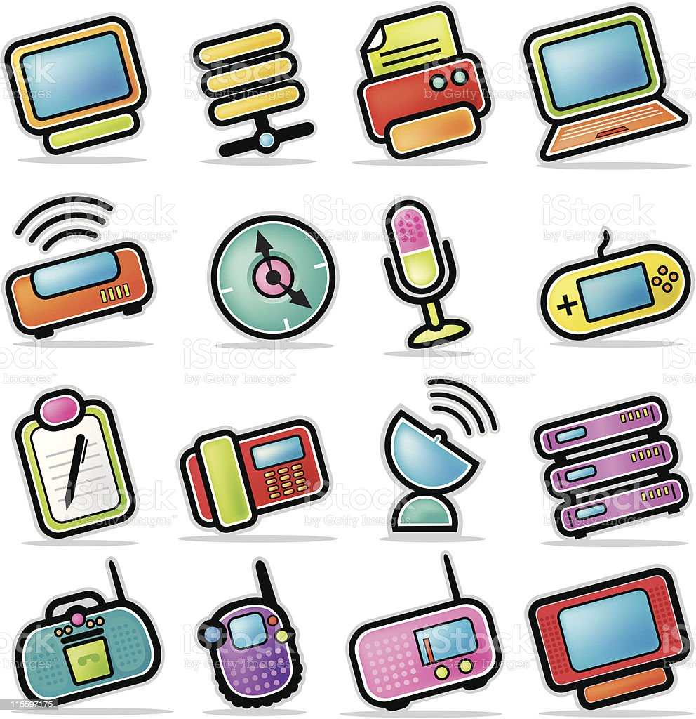 Colorful Electronic Device Icons royalty-free stock vector art