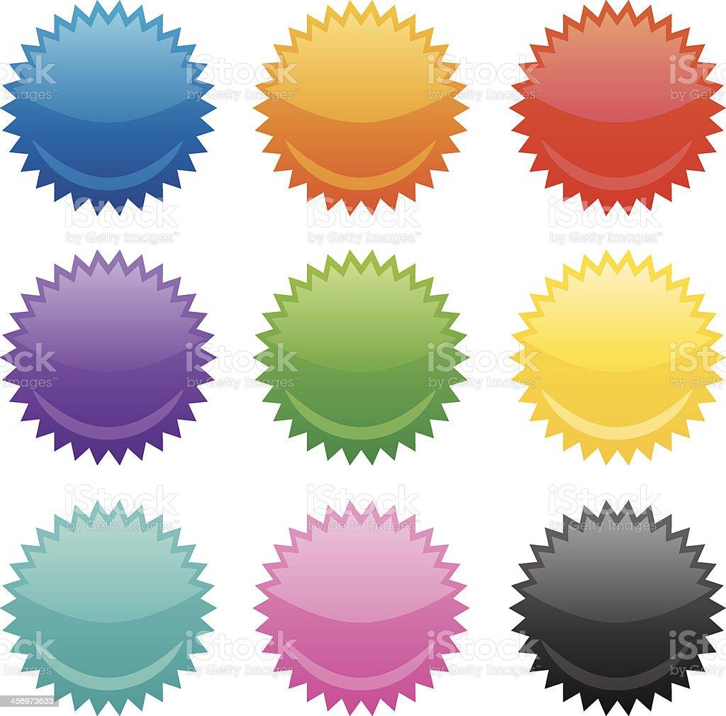 Colorful Emblems vector art illustration