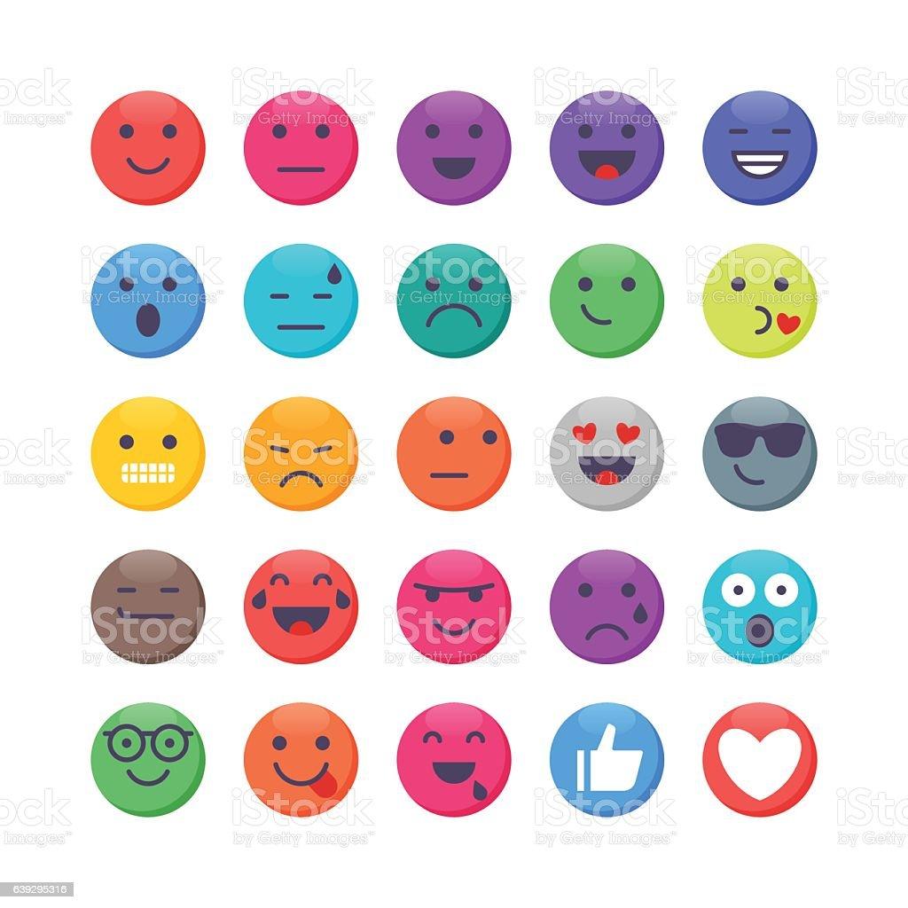 Colorful Emoji set 1 vector art illustration