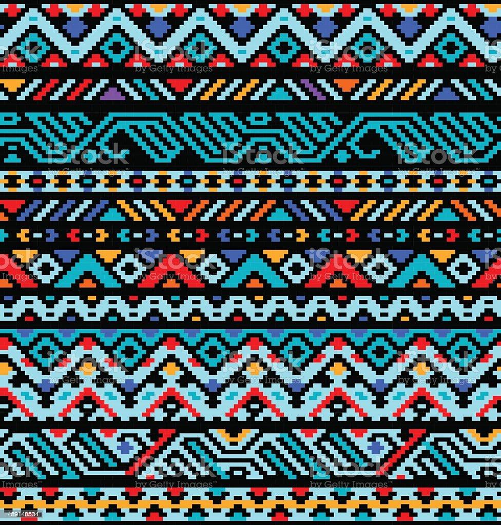 Colorful ethnic geometric aztec seamless pattern, vector vector art illustration