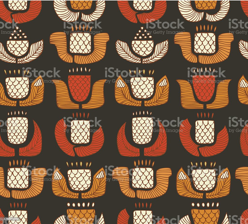 Colorful ethnic pattern with flowers, buds and leafs royalty-free stock vector art