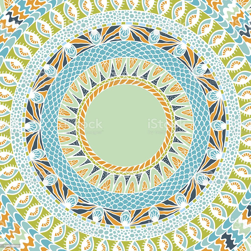 Colorful ethnicity round ornament, mosaic vector background. royalty-free stock vector art