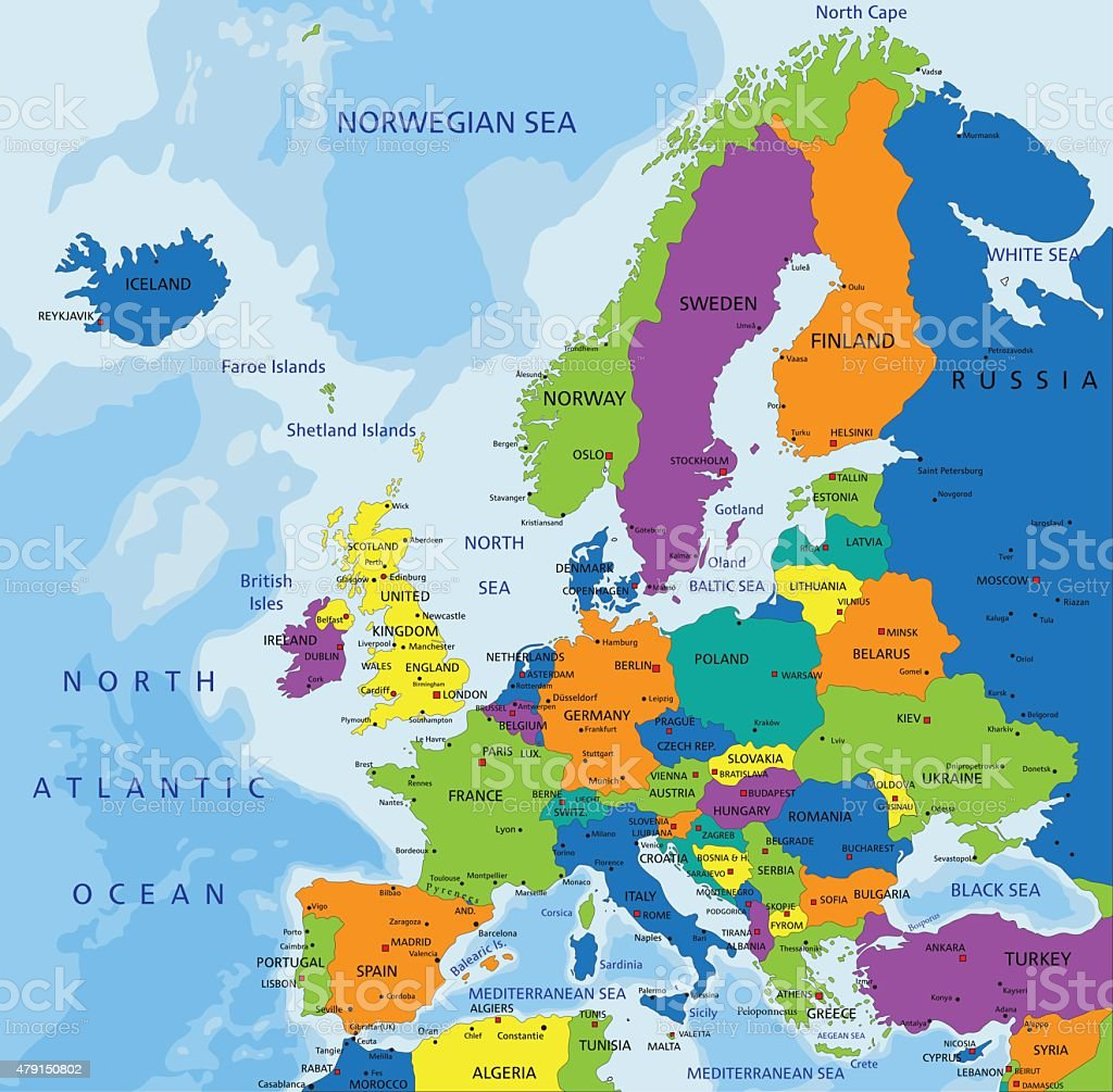 Colorful Europe political map. vector art illustration