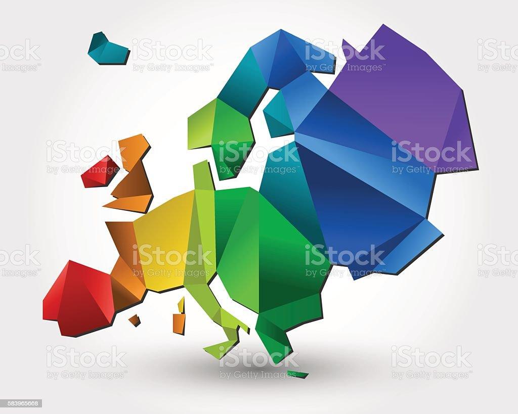 colorful Europe vector art illustration