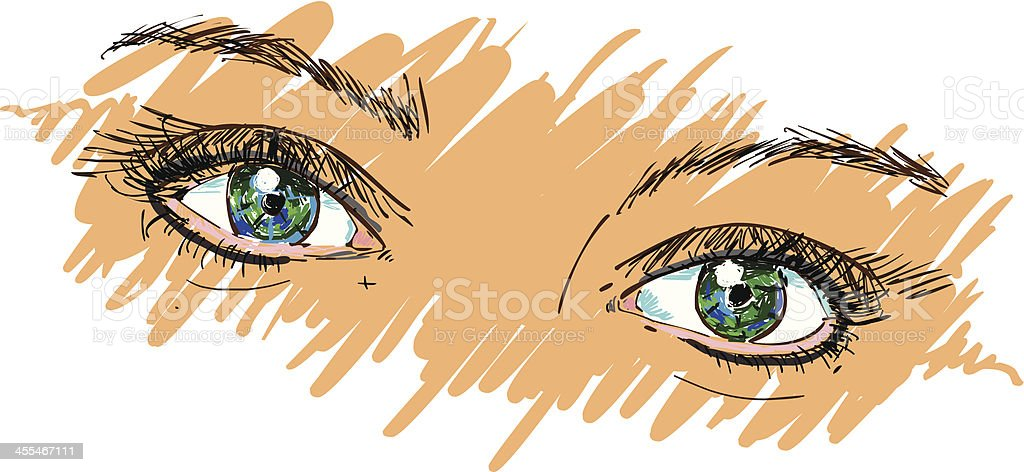 Colorful eyes vector art illustration
