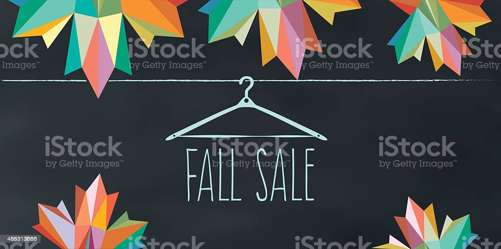 colorful fall sale illustration on chalk board stock photo
