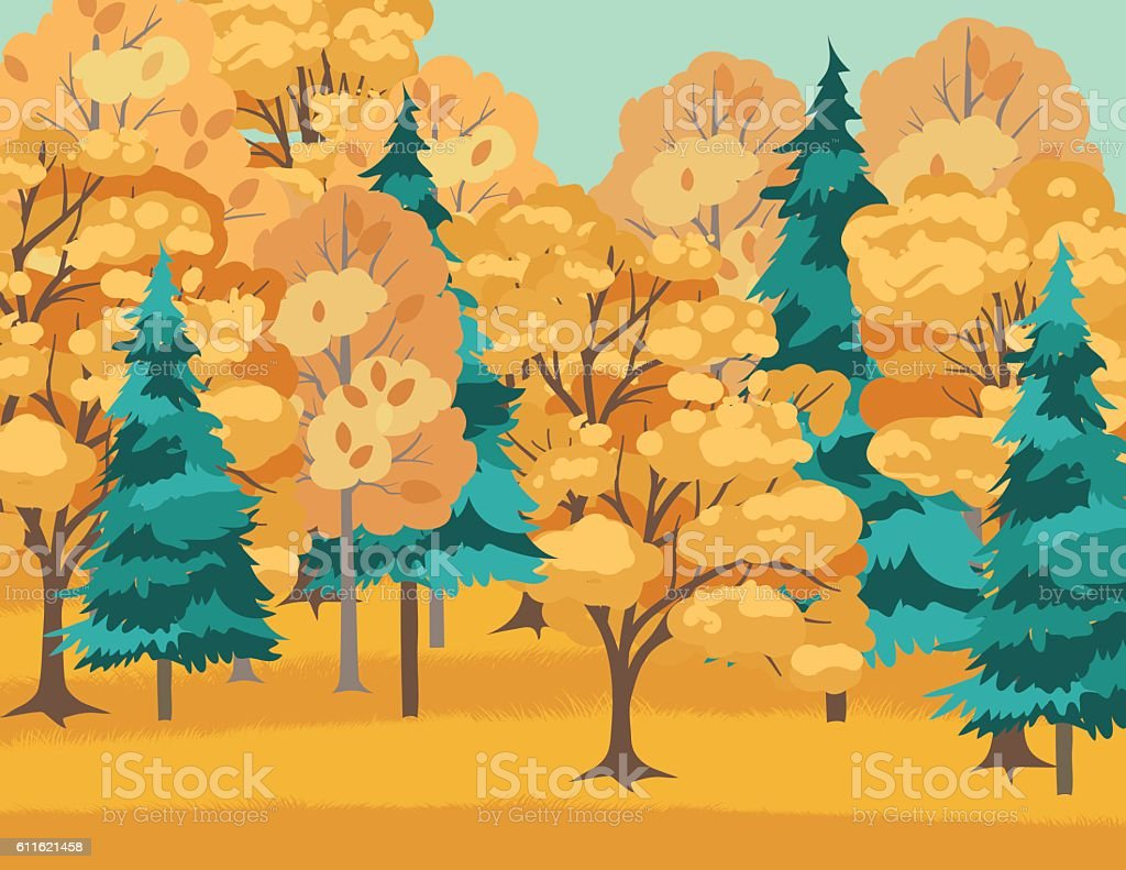 Colorful Fall Trees in A Park vector art illustration