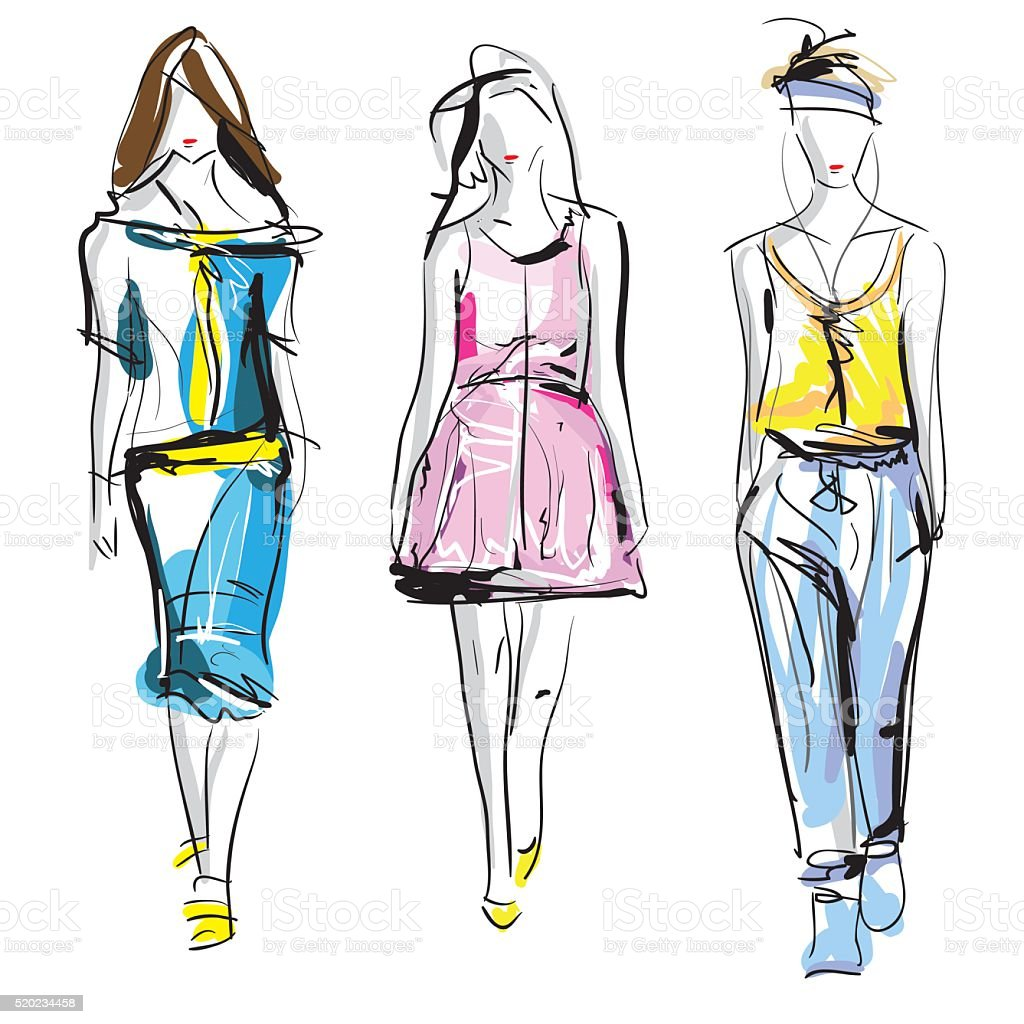 Colorful fashion models sketch isolated, vector vector art illustration