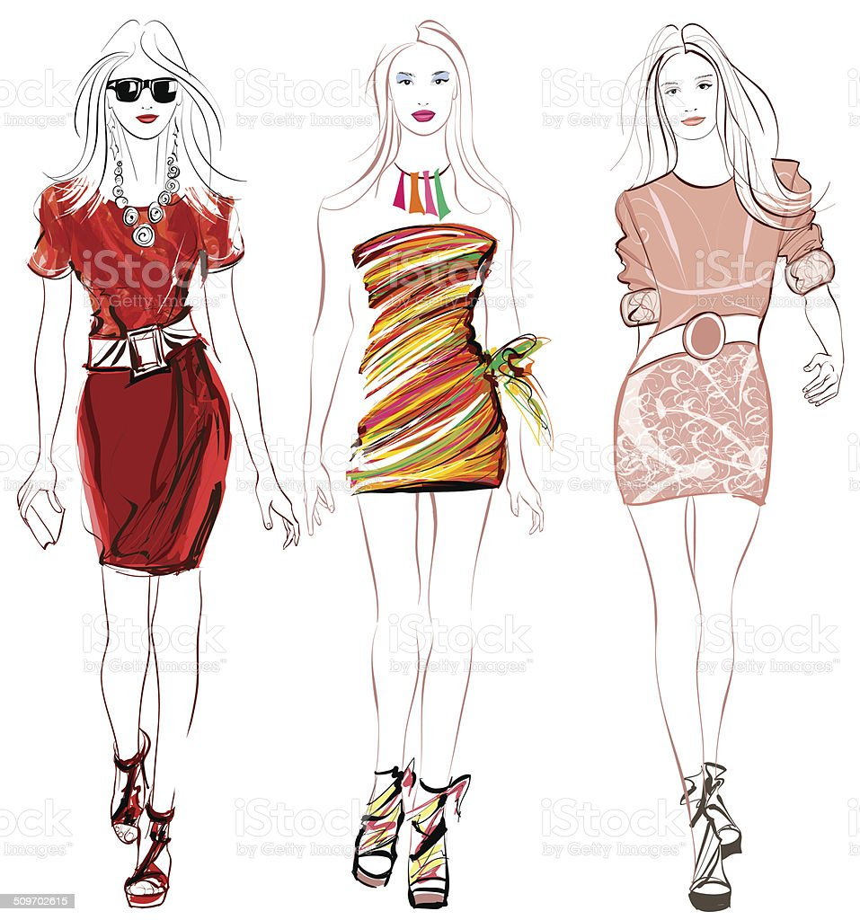 Colorful fashion women defile vector art illustration