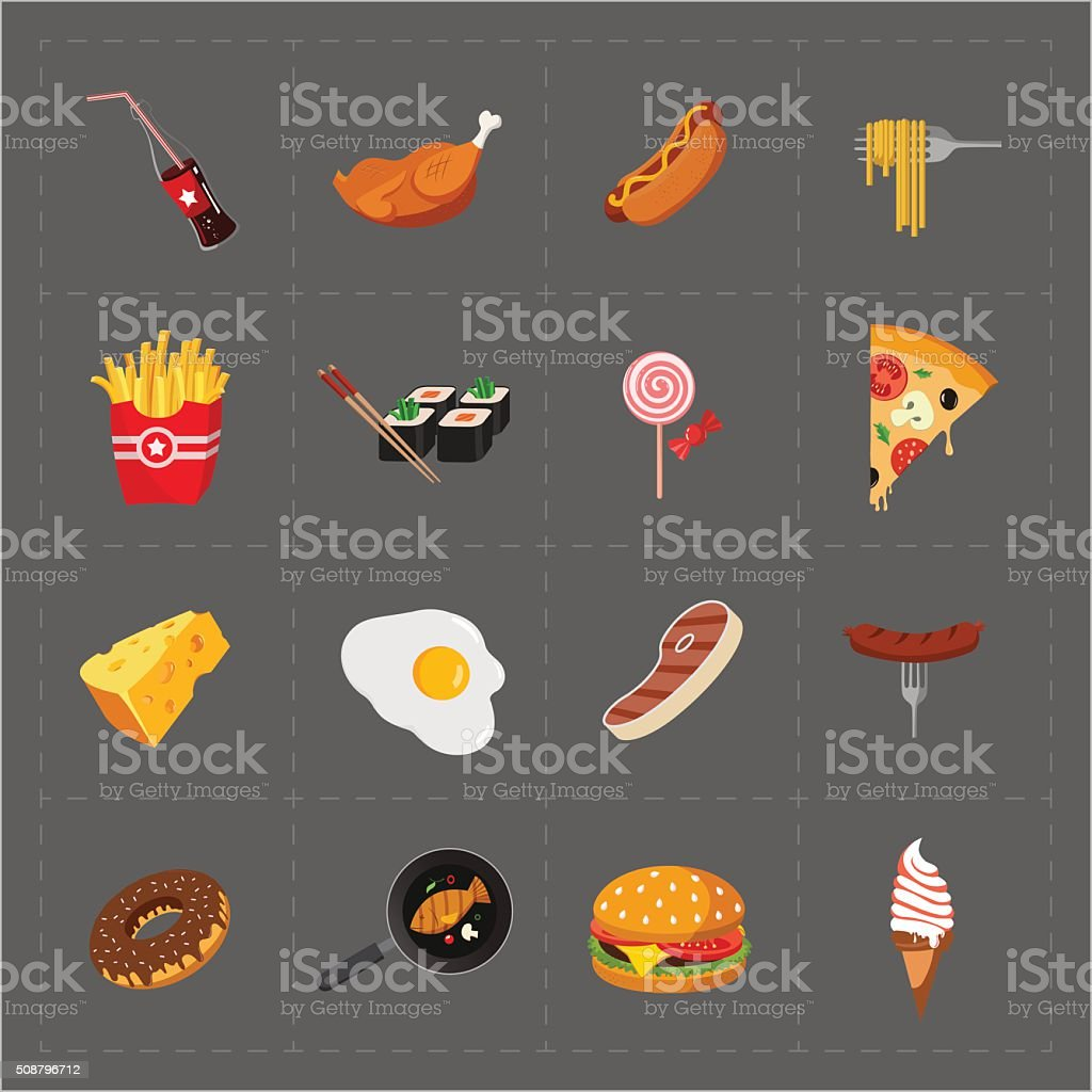 Colorful Fast Food Icon Set vector art illustration