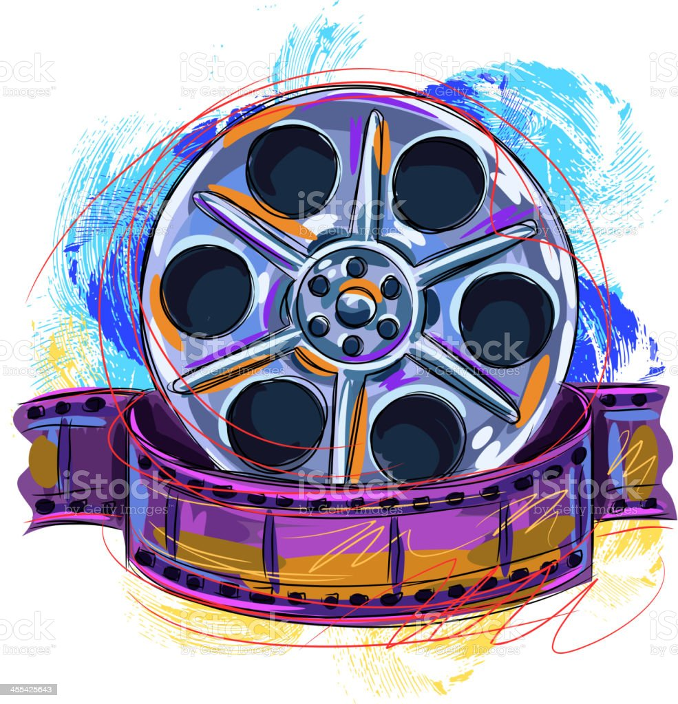 Colorful Film reel vector art illustration