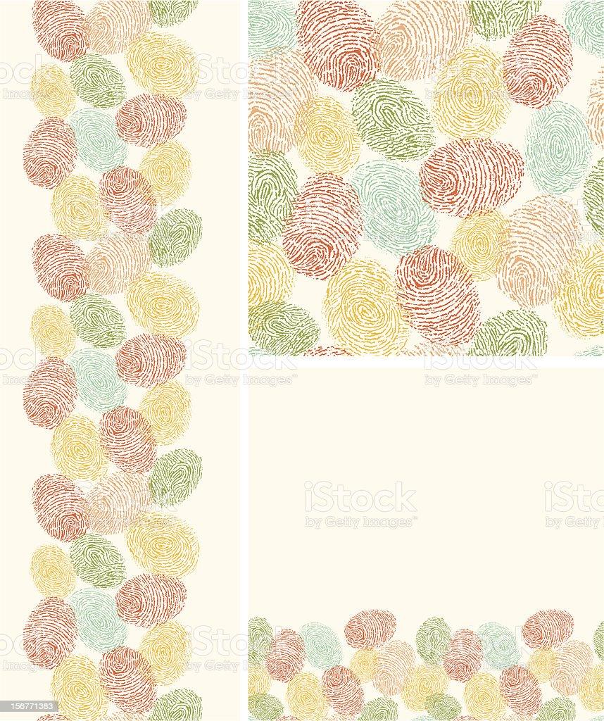 Colorful Fingerprints seamless patterns set royalty-free stock vector art